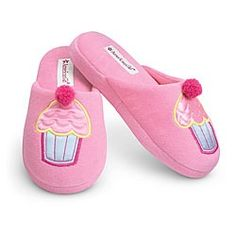 slippers with cupcakes on them, in pink....that's perfect...