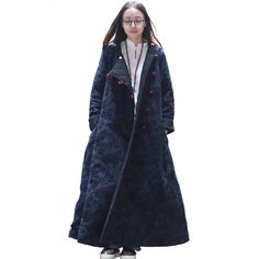 Traditional Chinese Winter Jacket Women Basic Coats Cotton Padded Down Coat Long Jackets Contrast Color Pockets Ethnic Garment
