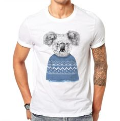 100% Cotton Cute Koala Bear Blue Sweater Design Men Summer White T Shirt Animal Printed Tee Cool Tops Hipster Casual T-shirt. Yesterday's price: US $5.99 (4.93 EUR). Today's price: US $3.59 (2.98 EUR). Discount: 40%.