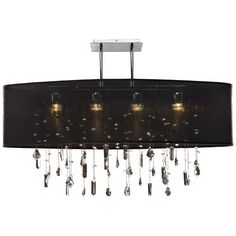 """Lifestyles 33"""" Wide Oval Large Black Pendant Chandelier - Style # N7284"""