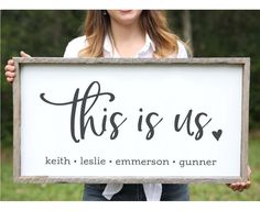 For the living room or dining room. This Is Us Wood Sign Wife Day Gift Idea Mothers Day Gift Farmhouse Decor Gallery Wall Sign Anniversary Gifts for Women Mothers Day Gift Rustic Decor, Farmhouse Decor, Farmhouse Signs, Farmhouse Ideas, Vintage Farmhouse, Farmhouse Style, Rustic Barn, Rustic Wood, Modern Farmhouse