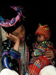 Hmong Woman With Her Baby - North Western Vietnam