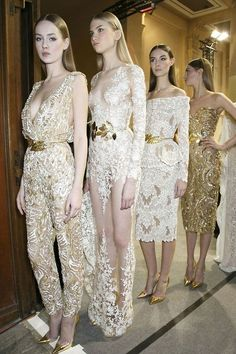 A lovely selection of white & gold haute couture outfits from Zuhair Murad's 2014 collection #sochicsoclassic...x