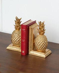 パイナップルをモチーフにしたお洒落なブックエンド(ゴールド)