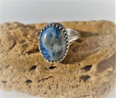 Large Sterling Silver Ring  Lapis Lazuli Ring  by SweetVintageTX
