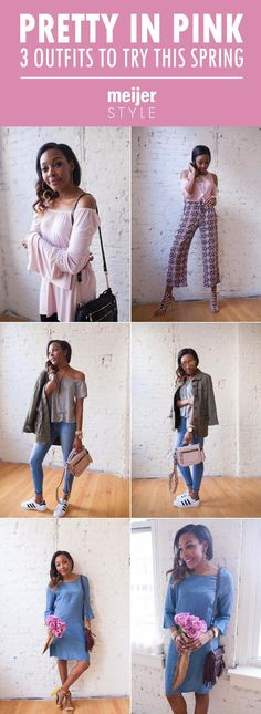The best ways to wear the color pink this spring – plus, our favorite fashion trends like bell sleeves and off-the-shoulder tops. Blogger @candacemread has this season's best outfit ideas and more blush styles at #MeijerStyle