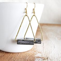 Grey & Gold Triangle Earrings / square glazed by SOFTGOLDSTUDIO, $26.00