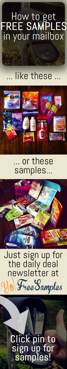 The key to free samples: http://yofreesamples.com/sign-up-for-totally-free-samples-by-mail/?utm_source=pinterest&utm_medium=organic&utm_campaign=pintest1