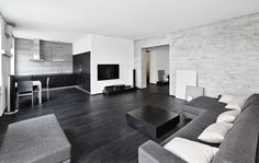 Tones of grey and black make this contemporary lounge space/kitchen diner stand out #interiordesign #modern