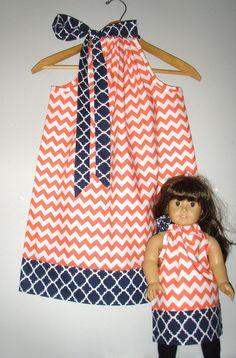 Matching doll dress Orange white chevron  by ladyoutofcarolina
