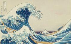 Disegno giapponese delle onde del mare con barche