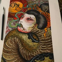 Lots of continuation stuff recently so here's a picture wot I painted a while ago #tattoos#tattoo#tattooart#tattoopainting#yokai#japaneseart#japanesetattoo#orientalart#orientaltattoo#asianart#asiantattoo#brighton#brightontattoo#