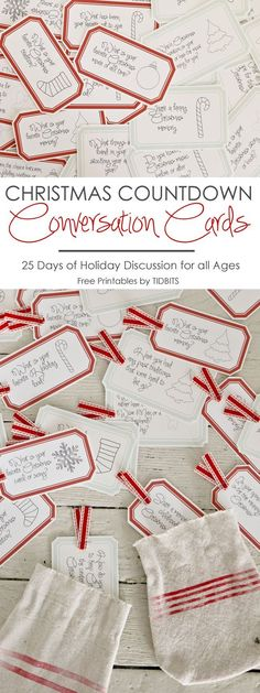 Countdown Conversation Cards Christmas Countdown Conversation Cards - 25 days of enjoyable Holiday discussion for all ages.Christmas Countdown Conversation Cards - 25 days of enjoyable Holiday discussion for all ages. 25 Days Of Christmas, Christmas Games, Christmas Countdown, Christmas Activities, Family Christmas, Christmas Traditions, Winter Christmas, Christmas Crafts, Christmas Decorations