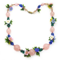 Vintage 1950s Pastel Blown Glass Floral Bead Necklace | Clarice Jewellery | Vintage Costume Jewellery
