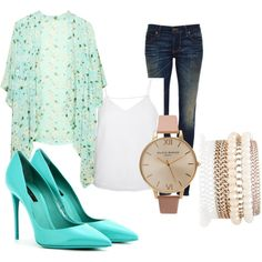 Casual jeans and top livened up with a mix of rose gold and sea green Casual Jeans, Sea, Polyvore, Fashion, Moda, La Mode, Fasion, Fashion Models, Trendy Fashion