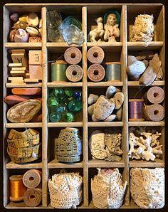 Notions collection, by Melinda Barnett Shadow Box Memory, Shadow Box Art, Sewing Crafts, Sewing Projects, Craft Projects, Diy Crafts, Vintage Sewing Notions, Vintage Sewing Machines, Sewing Room Decor