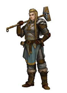 Female Sacred Sentinel follower of Torag - Pathfinder PFRPG DND D&D d20 fantasy