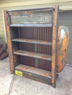 All have under shelf lighting and wood shelves can be built to spec on custom orders. contact Kyle with relics awry at Car Part Furniture, Automotive Furniture, Automotive Decor, Man Cave Automotive, Furniture Ideas, Automotive News, Furniture Design, Repurposed Furniture, Industrial Furniture