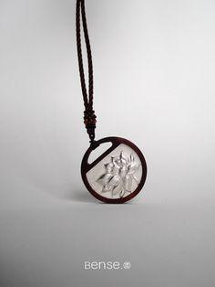 $466 - Lotus. Handcraft Silver lobular Rosewood Pendants -  SKU: 965459 #BENSE #Jewelries #Pendants --- Materials:S999 + Lobular red sandalwood / Size:Φ=4.5CM --- keywords: exclusive jewellery, jewellery designs, original jewelry, sterling silver rings, trendy fashion jewelry,
