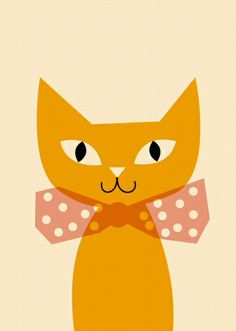 Poster yellow cat by Anna Kövecses