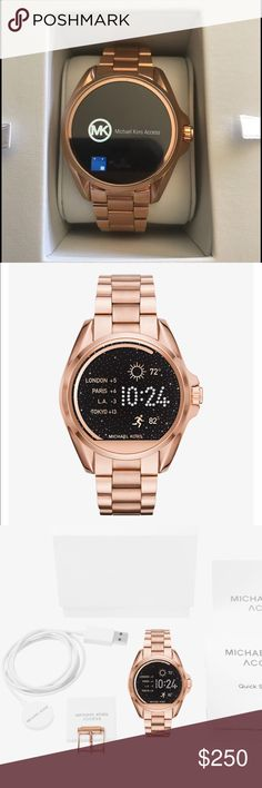 8da27eda1944 Michael Kors smartwatch The Michael Kors access Bradshaw rose-gold tone smart  watch. Worn