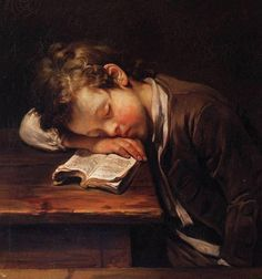 Jesn Baptiste Greuze Un alumno que duerme en su libro