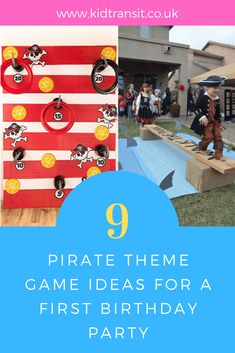 How to create 9 fun party games for a Pirate theme first birthday party. Pirate Games For Kids, Pirate Party Games, Pirate Party Favors, Toddler Party Games, Fun Party Games, Birthday Party Games, Pirate Theme, Party Ideas, Toddler Activities