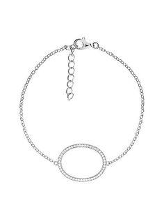 Silver pavé open oval bracelet