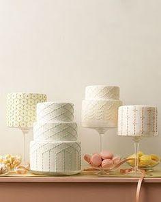 Wedding cakes inspired by Japanese Sashiko stitching from Martha Stewart Weddings. #cake #sashiko #wedding
