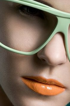 eyewear everywhere ...mint with orange lip