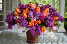 Beautiful bouquet of tulips, lilacs and more. Pink Tulips, Orange Flowers, Fresh Flowers, Beautiful Flowers, Beautiful Bouquets, Simply Beautiful, Beautiful Flower Arrangements, Floral Arrangements, Arte Floral