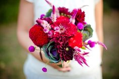 Zinnias are full of texture and come in lots of warm and fun colors like pink, orange, red, yellow, fuchsia, and even some ombre shades.