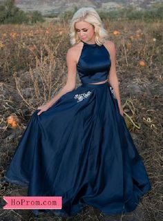 95a52044b3c Two Piece Satin Halter Navy Blue Prom Dresses High Neckline Beaded Pockets