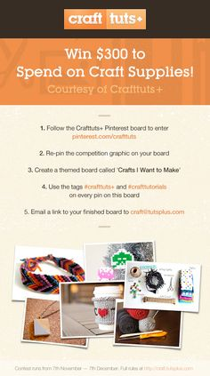 Crafttuts+ Pinterest Competition. Repin to WIN US$300. #Competition #Win #Repin  #crafttuts+ #crafttutorials Baby Crafts, Home Crafts, Crafts To Make, Arts And Crafts, Good Excuses, Craft Tutorials, Craft Ideas, Craft Box, Clever Diy