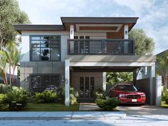 Do you look for a heart touching design? Are you really scared of ugly houses? Is there really no hope for you to find your best house design after each day surfing? Two Story House Design, 2 Storey House Design, Bungalow House Design, House Design Photos, House Front Design, Cool House Designs, Two Storey House, Modern House Floor Plans, Modern Exterior House Designs