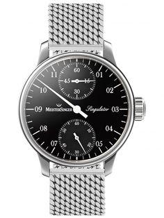 MeisterSinger | Singulator schwarz, Milanaise klassisch | Edelstahl | Uhren-Datenbank watchtime.net