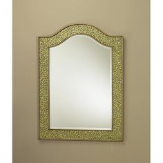 AA Importing Mosaic Glass Bordered Beveled Wall Mirror Finish: Gold Beveled Glass, Mirror Table, Mosaic Glass, Dressing Table Mirror, Wall Mounted Jewelry Armoire, Mirrors Wayfair, Solid Wood Dining Chairs, Classic Wall Mirrors, Mirror Wall