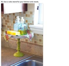 Use a cake stand for your kitchen sink needs