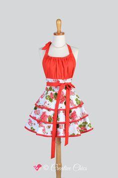 Flirty Chic Apron - Red and Green Geranium Floral Feminine Flirty Skirt  Sexy Retro Womens Apron Cute Flirty Chic Apron