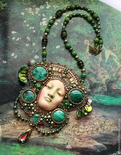 """Pendant """"mistress of the Copper mountain"""" – shop online on Livemaster with shipping - Seed Bead Jewelry, Beaded Jewelry, Beaded Necklace, Necklaces, Polymer Clay Pendant, Polymer Clay Jewelry, Bead Embroidery Jewelry, Beaded Embroidery, Brooches Handmade"""
