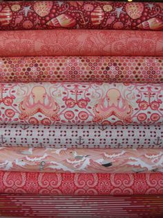 Tula Pink, Saltwater, Coral in FAT QUARTERS, 8 Total