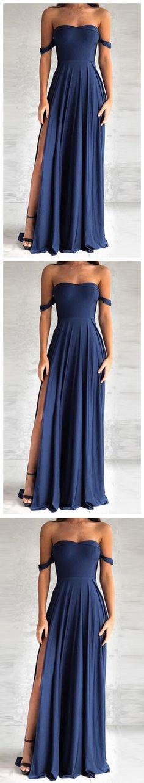 elegant navy blue prom dress, fashion off the shoulder party dress with split P0386 #promdresses #longpromdress #2018promdresses #fashionpromdresses #charmingpromdresses #2018newstyles #fashions #styles #hiprom #prom #navyblue #offtheshoulder #chiffon