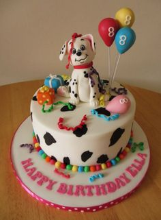 Disney 101 Dalmatian cake, with dalmatian print and balloons