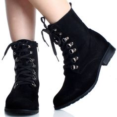 pictures of items the color black   Black Lace Up Ankle Boots Work Combat Hiking Flat Steam Punk Womens ...