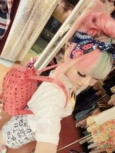 super cute everything! Pastel, hair, backpack, headscarf