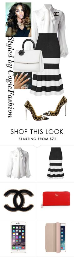 """Happy Sunday #WomenDay"" by cogic-fashion ❤ liked on Polyvore featuring Dondup, Victoria Beckham, Chanel, Christian Louboutin, Apple and Wrigley's"