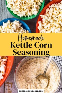 Kettle Corn Seasoning Recipe, Homemade Popcorn Seasoning, Homemade Spices, Homemade Seasonings, Homemade Products, Healthy Popcorn, Popcorn Recipes, Healthy Snacks, Popcorn Snacks