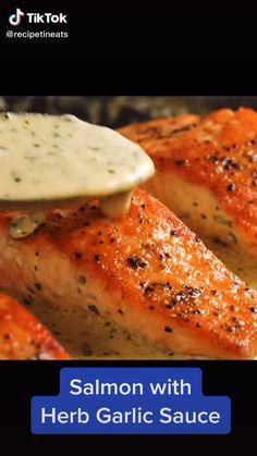 Salmon Recipe Videos, Healthy Salmon Recipes, Fish Recipes, Seafood Recipes, Dinner Recipes, Salmon Recipes With Herbs, Healthy Recipes With Herbs, Cooked Salmon Recipes, Quick Food Recipes