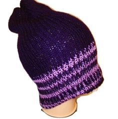 Purple Lilac stripe Reversible Handmade Retro Bobble / Beanie / Slouch Hats by www.RetroSheep.com