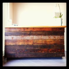 Reclaimed wood desk, created by @GreenWestBC